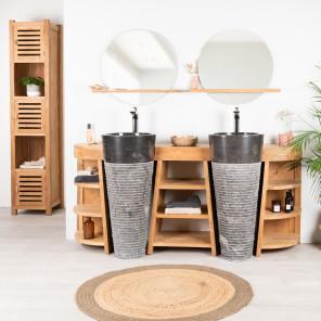 Meuble salle de bain en bois teck florence double vasque noire