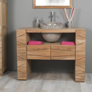 Meuble de salle de bain en teck SERENITE 110cm + vasque gris