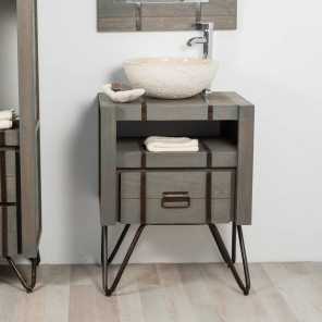 Meuble de salle de bain LOFT en mindi et métal 60 cm gris