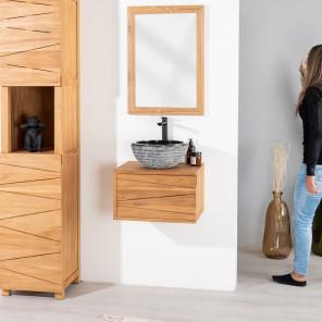 Meuble de salle de bain suspendu en teck cosy 50cm