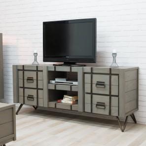 Meuble TV bois en mindi LOFT gris 160x45