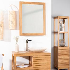 miroir miroir de salle de bain en bois de teck massif. Black Bedroom Furniture Sets. Home Design Ideas