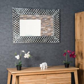 Miroir en bois patiné Petits pois cérusé blanc 70 X 100