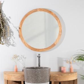 Miroir miroir de salle de bain en bois de teck massif - Miroir salle de bain en bois ...