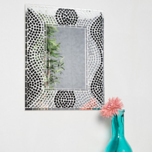 Miroir miroir de salon en bois massif for Miroir mosaique design
