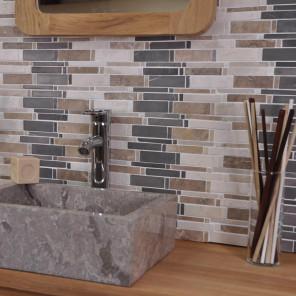 Parement carelage mosaïque en marbre naturelle 3couleurs