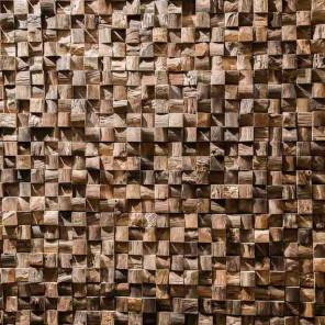 Parement mosaïque en teck recyclé naturel carré 20cm x 50cm
