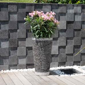 Pot bac jardinière conique ardoise 80cm jardin terasse zen