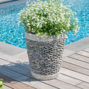 Pot bac jardinière conique galet 50cm