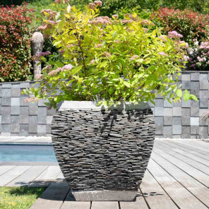 Pot bac jardinière galbé ardoise 50 cm jardin pierre naturelle