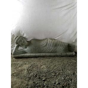 statue Bouddha allongée de jardin en pierre naturelle 1 m 20