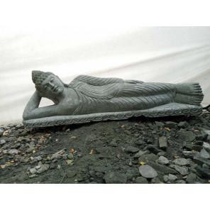 statue Bouddha couché en pierre naturelle 1 m 20