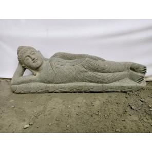 statue Bouddha couché en pierre naturelle 1m