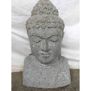 statue Buste de Bouddha en pierre volcanique 50 cm jardin