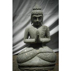 Statue de Bouddha assis en pierre naturelle position prière 80cm