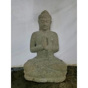 Statue de Bouddha assis en pierre position prière 80cm
