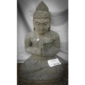 Statue de  Bouddha assis en pierre volcanique position Prière 50 cm