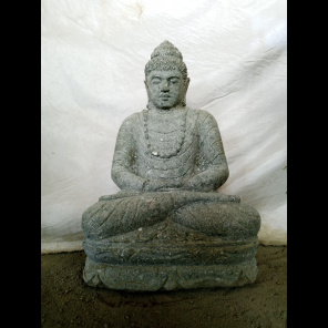 Statue de Bouddha en pierre assis jardin zen collier 50 cm