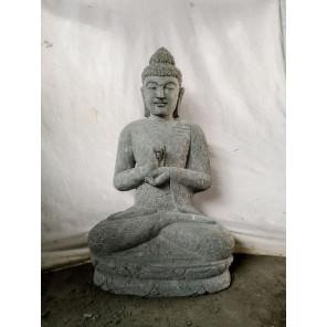 Statue de Bouddha en pierre volcanique de jardin position chakra 1m
