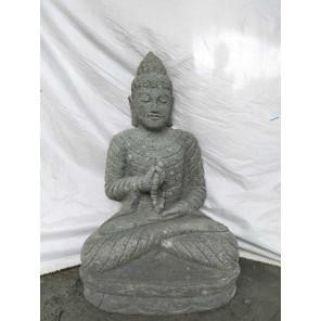 Statue de Bouddha en pierre volcanique position chakra et chapelet 80cm