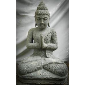 Statue de Bouddha en pierre volcanique position prière 80cm