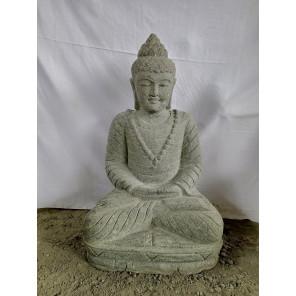 Statue de jardin Bouddha en pierre position offrande 80 cm