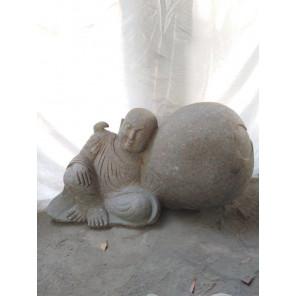 Statue de jardin moine Shaolin en pierre volcanique 95 cm