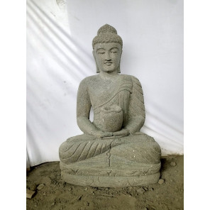 Statue de jardin zen Bouddha pierre avec bol 1m