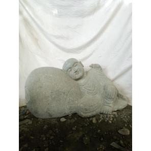 Statue de jardin moine Shaolin en pierre volcanique naturelle 1 m