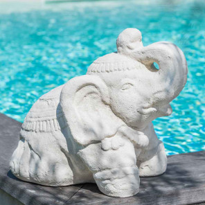 Statue Eléphant assis en pierre 40cm blanc crème