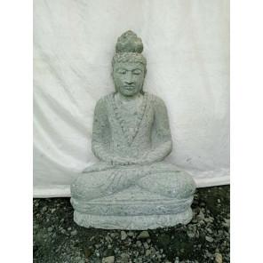 Statue en pierre Bouddha assis jardin extérieur collier 80 cm