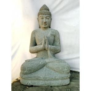 Statue en pierre Bouddha jardin zen position priere  1 m