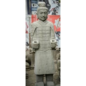 Statue en pierre naturelle guerrier officier armée de Xian 2 m