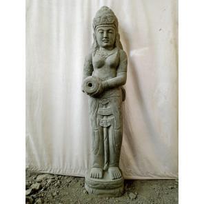 Statue en pierre naturelle verseuse d'eau déesse Dewi 1,50 m
