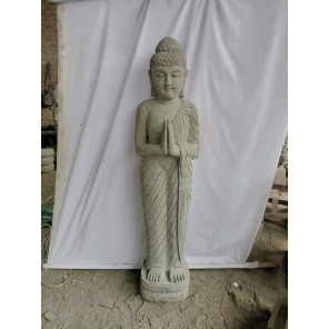Statue en pierre volcanique Bouddha debout prière 1,50 m