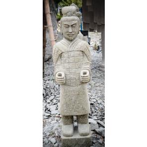 Statue en pierre volcanique soldat officier armée de Xian 1m50