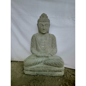 Statue jardin Bouddha assis en pierre volcanique position offrande 80cm