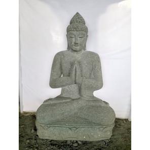 Statue jardin Bouddha assis pierre volcanique position Prière 1m20