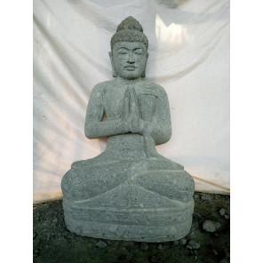 Statue jardin extérieur Bouddha assis en pierre position prière 1m05