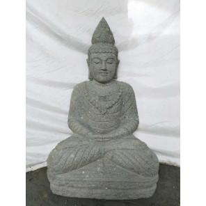 Statue jardin exterieur Bouddha assis pierre volcanique collier 80 cm