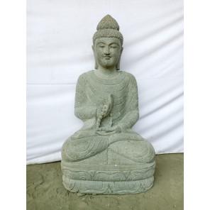 Statue jardin zen Bouddha assis en pierre naturelle offrande et chapelet 1m20
