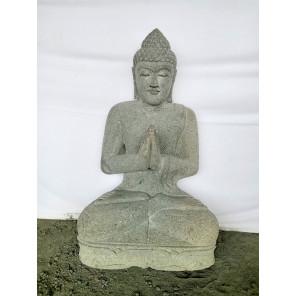 Statue jardin zen Bouddha assis en pierre volcanique position Prière 80cm