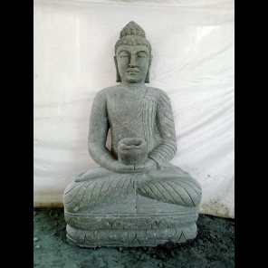 Statue jardin zen Bouddha assis pierre volcanique collier 1m20
