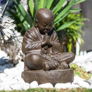 Statue moine shaolin en pierre brun antique 40 cm