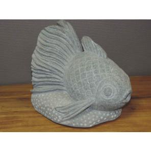 Statue poisson zen en pierre volcanique 32 cm