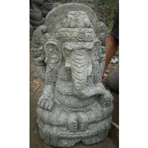 Statue sculpture en pierre naturelle GANESH 62 cm jardin extérieur