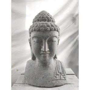 statue zen jardin Buste de Bouddha en pierre volcanique 40 cm