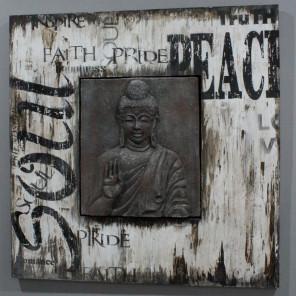 Tableau Bouddha bois patiné métal industrielle et design