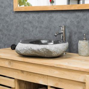 Vasque à poser en GALET DE RIVIERE 45-50 cm porte savon