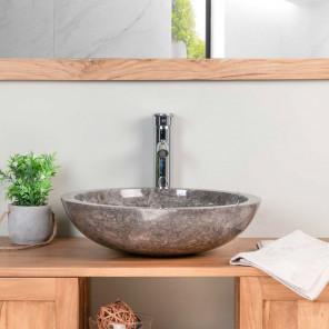 Vasque Ronde BARCELONE à poser en marbre de couleur gris - Diamètre 45 cm
